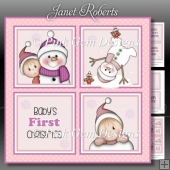 Baby Girl 1st Christmas Squares Mini Kit