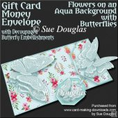 Flowers on Aqua Background with Butterflies Card/Money Envelope