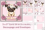 Cute Dog Card, With Love, inserts, decoupage, envelope
