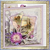 Country scene and flower 7x7 card with decoupage