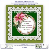 Pink Poinsettias Lace & Pearls On Green 6 x 6 Card Kit + Insert