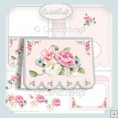 Fancy bottom pink white & blue roses card set
