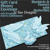 Bluebirds and Flowers with Butterflies Card/Money Envelope Kit
