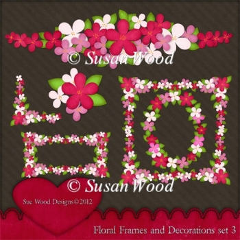 Floral Frames and Decorations Designer Resource Set 3