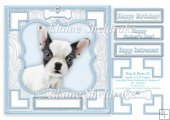 French Bulldog Dog & Bone (3) - 7.5 x 7.5 Card Topper With Gree