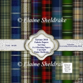 Tartans 2018 Set One 8x8 Backing Papers For Cards Scrap & Crafts