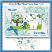 Puppy In Blue Floral Frame Card Front