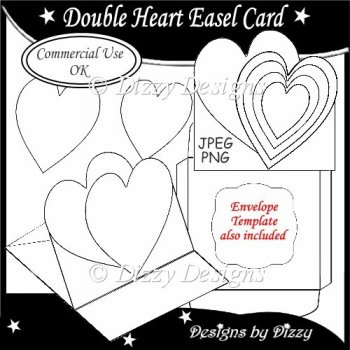 Double Heart Easel Card Template Instant Card