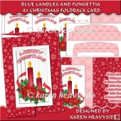 Red Candles And Ponsettia Foldback Card
