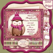 OWL FESTIVE WISHES 7.8 Christmas Decoupage & Insert Kit