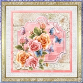 abundance of roses 7x7 card with decoupage