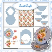 Blue shaped easel card with roses
