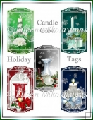 Set of 6 Toppers/Tags Christmas Candle Glow
