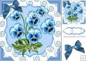 pretty blue pansies with diamond swirls & bow 8x8