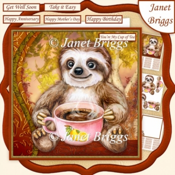 SLOTH MY CUP OF TEA 7.5 Decoupage Card Kit Various Occasions