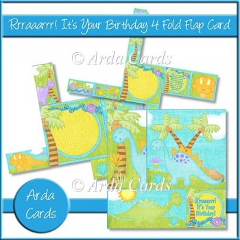 Rrraaarrr! It's Your Birthday 4 Fold Flap Card