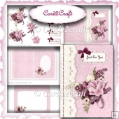 Pink flower card set