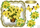 Yellow Hydrangeas in a vase with butterflies