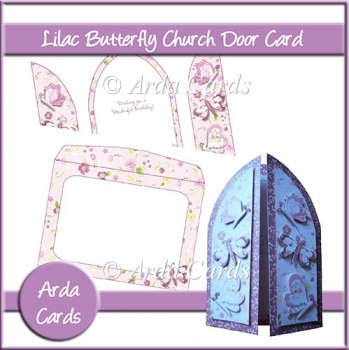 Lilac Butterfly Church Door Card