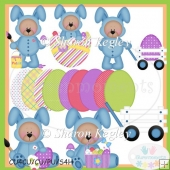 Easter Bear Bunny Blue 1 Clip Art