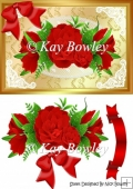 red border of roses on lace with bow A5
