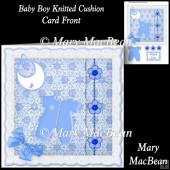 Baby Boy Knitted Cushion Card Front