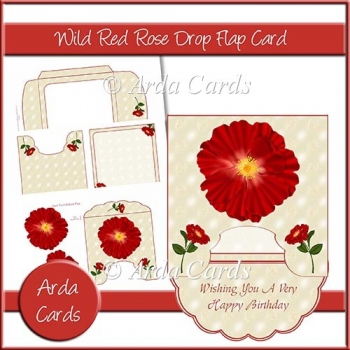 Wild Red Rose Drop Flap Card