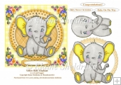 Yellow Baby Elephant 6 x 6 Card Topper With Decoupage