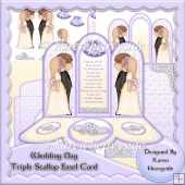 Wedding Day Triple Scallop Easel Card