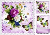 pretty purple flower arrangement, lace, butterflies & toppers 8x