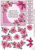 Pink Dahlia card A4 sheet with decoupage and female sentiments