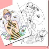 Queen Bee Fairy ~ Digital Stamp. Digi Stamp, Line Art