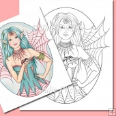 Spiders and Snakes Fairy ~ Digital Stamp. Digi Stamp, Line Art
