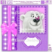 Polar Bear & Pink Butterfly - 7.5 Inch Square Card Topper Kit