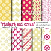 RHUBARB AND CREAM - 10 printable high quality A4 digital papers