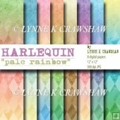 HARLEQUIN - Pale Rainbow - 8 digital papers/backgrounds CUOK!