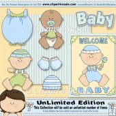 Baby Boy Clothes 2 ClipArt Graphic Collection