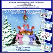 8 x 8 Christmas Beagle Puppy Dogs Under The Mistletoe Card Kit