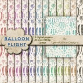 BALLOON FLIGHT - 12 Digital Papers - A4 size - jpegs - CU