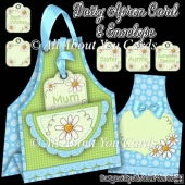 Blue Daisy Apron Card & Envelope