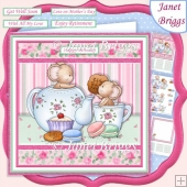 TEA MICE & MACAROONS 7.5 Decoupage & Insert Mini Kit