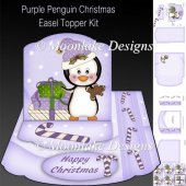 Purple Penguin Christmas Easel Topper Card Kit