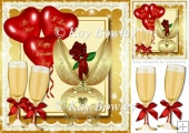 gold fabrege egg with red rose, champagne & balloons 8x8