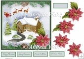 Christmas house and Santa 7x7 card