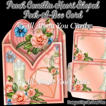 Peach Camillia Heart Shaped Peek-A-Boo Card