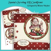 Santa's Sewing Elf Cardfront with Decoupage