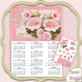 Pink Roses 2017 A4 UK Calendar with Decoupage Kit