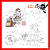 Santa in Chimney With Presents and Sentiment Digital Stamps