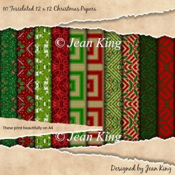 10 Tesselated 12 x 12 Christmas Papers
