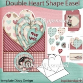 Double Heart Shape Easel Card stripes
